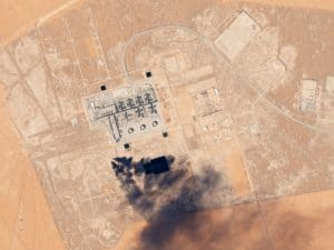 Aerial view of Khurais oilfield, which was attacked by drones