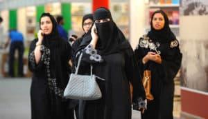 "Saudi Arabian women wearing the traditional ""Abaya"""